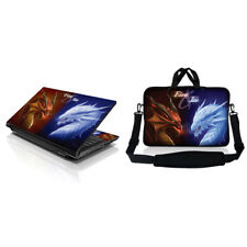 "17.3"" Laptop Sleeve Bag w Shoulder Strap & Matching Skin Fire and Ice Dragon"