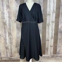 eShakti Women's Size XL Surplice Neckline Dress Black Short Sleeve Satin Trim