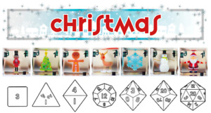 Set of 7 Christmas 3Dice gaming dice for DnD, roleplay, board games etc.