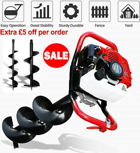 52cc 2.5HP Petrol Earth Auger / Fence Post Hole Borer Ground Drill w/ 6 +10 Bits
