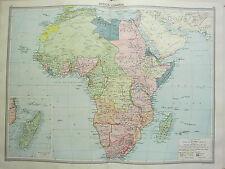 1920 LARGE MAP ~ AFRICA ~ MADAGASCAR EUROPEAN POSSESSIONS ANGOLIA MOZAMBIQUE