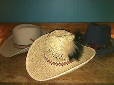 3 men's western cowboy hats straw denim khaki M-L costume Miller Bros Quality