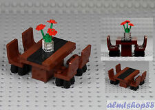LEGO - Formal Dining Table w/ 4 Chairs & Flowers Minifigure Home Room Furniture