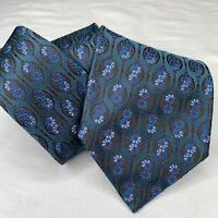Ermenegildo Zegna Necktie Mens Luxury Designer Blue Tie 100% ALL Silk Floral