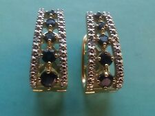 10k Yellow  Gold Clip On Earrings WITH SAPPHIRE STONES ((296))