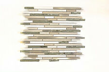 Mosaikmatte Mosaikfliesen Mosaik Verbund Crystal Stein Stahl mix wood white