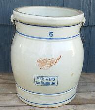 RARE Antique Red Wing 5 Gallon Self Draining Stoneware Jar Water Cooler, Handles