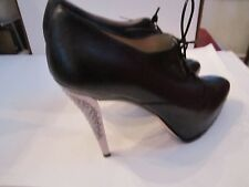 JIMMY CHOO LEATHER LACE UP STILETTO SHOES - METAL HEELS - SIZE 8 (38)