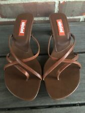 Unlisted Kenneth Cole Womens Sandals Sz 9.5 Brown Strappy Slip On Heels