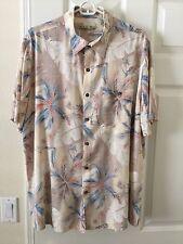 Men's Batick Bay Blue Short Sleeve Hawaiian Tropical Button Down Large Shirt A19