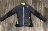 Saucony Women's Running Jacket Sz Medium Gray Green Black Reflective Lightweight