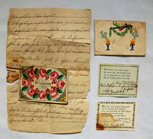 2x antiker Taufbrief Patenbrief handcoloriert Biedermeier um 1842 Dachbodenfund