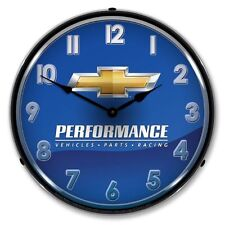 NEW CHEVROLET PERFORMANCE RETRO ADVERTISING BACKLIT LIGHTED CLOCK - FREE SHIP*