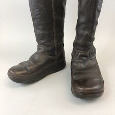 FITFLOP Superboot Size 37 UK4 Brown Leather Long Knee High Pull On Booties Boot