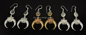 New Pair Natural Labradorite Moonstone Brass Silver Plated Dangle Earrings BE-2