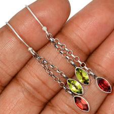 Garnet & Peridot 925 Sterling Silver Earring Jewelry AE135085 121J