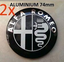 2x Alfa Romeo BLACK Emblem Badge 147 156 159 Brera Mito Giulietta Front + Back