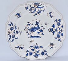 French GF MOUSTIERS Blue & White Exotic Bird & Insect Faience Plate 26.5cm VGC