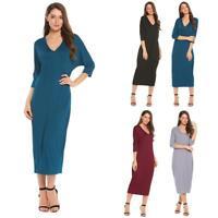 Women Casual 3/4 Sleeve Solid O Neck Loose Maxi Dress W2YN