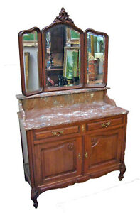 19th Century French oak and Marble Topped Ladies Dressing Table - (010033)