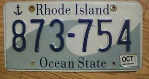 SINGLE RHODE ISLAND LICENSE PLATE - 2017 - 873-754 - OCEAN STATE