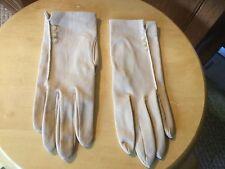 "Vintage Wmns Dress Gloves.Tan, Buttons, stretchy. 8.5"" frm wrist-longest finger."