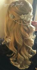 Bridal headpiece, Wedding hair jewellery, hairpiece Swarovski back drapes pearls