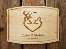 Laser Engraved Personalized Maple Cutting Board buck and doe wedding gift deer