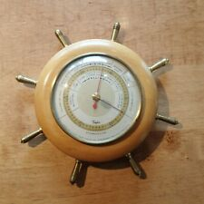 New listing Vintage Taylor Stormguide Ship's Wheel Barometer, Nautical, Brass and Wood