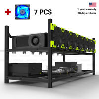 Open Air Mining Rig Case Frame Ethereum 8 GPU ZCash Stackable+7 Fans Veddha PGS