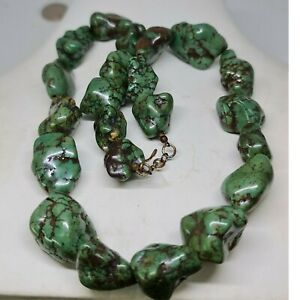 Tibetan wonderful old turquoise stone beads necklace  20 inch #141