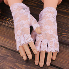 Women Ladeis Short Lace Floral Fingerless Gloves Gothic Bride Wedding Mittens US