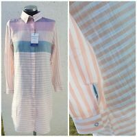 Womens Cotton Shirt dress by My Polo X White Pink Striped Size S BNWT baumwolle