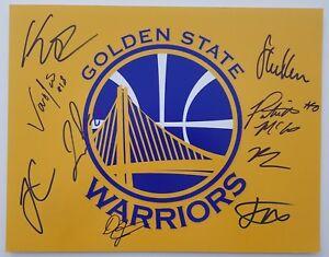 16-17 Golden State Warriors Team Signed 11x14 Photo NBA Klay Thompson Steve Kerr