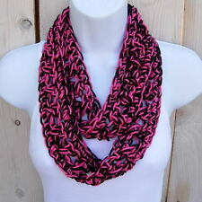 SUMMER SCARF Infinity Loop Black Hot Bright Pink Small Skinny Crochet Knit Cowl