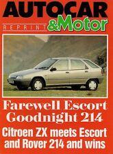 Citroen ZX 1.4i Avantage 1991 UK Market Road Test Brochure Autocar & Motor