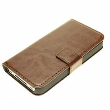 Brown Genuine Real Leather Flip Wallet Case Cover Stand for iPhone 5/5s/SE