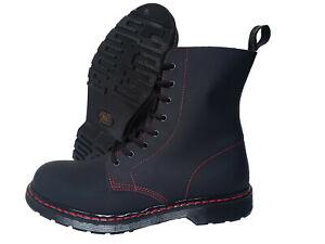 Boots & Braces 8 Hole Boots Matt Black Leather Red Stitch Punk Skinhead Stiefel