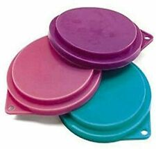 New listing Pet Food Can Covers Set of 3 Assorted Colors 3-1/2 inches Dogs Cats Pets Lids
