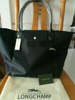 New Longchamp Le Pliage Tote Bag Nylon BLACK Large with Horse Embroidery  L