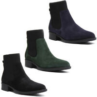 Justin Reece Womens Suede Chelsea Ankle Boots In Blue Sizes UK 3 - 8