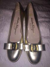 Salvatore Ferragamo Gold Varina Bow Flats Size 5.5 13905