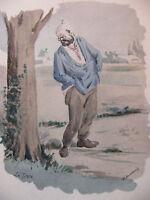 Simili Aquarelle L'oeuvre de Zola 1898 par H Lebourgeois La terre