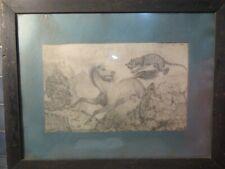 Cheval poursuivi par un tigre.Dessin XIXème signé 39x24cm