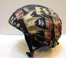 Ski & Sport Helmet cover by Shellskin. Black/Gold Crown print Spandex. 1 Size