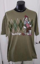 Goofy Disney Store Distinguished Duffer Argyle Olive Green Golf T Shirt 3XL XXXL