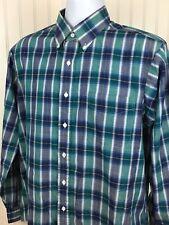 ORVIS Men's Superfine Poplin Plaid Shirt (L) Button Front L/S Easy Care