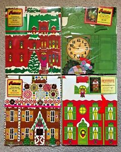 Lot of 8 (4 Packs) Vintage 1970s Petitotes Christmas House Gift Boxes with Tags