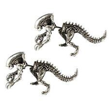Alien vs Predator Movie Xenomorph Silvertone Front and Back Metal Stud Earrings