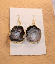 Oval Occo Druzy Blue Black Tan Slice Gold Wrapped Dangle Earrings Handcrafted